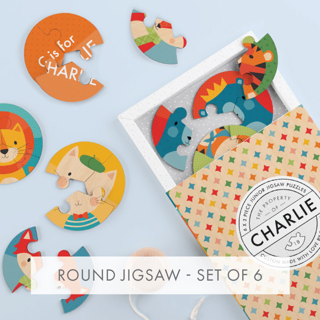 Personalised Round Jigsaw - Set Of 6